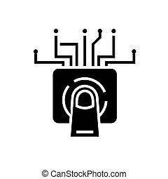 touchscreen, technológia, ikon, vektor, ábra, fekete, aláír, képben látható, elszigetelt, háttér