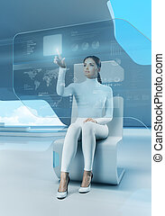 touchscreen, technology., knoop, toekomst, interface.,...