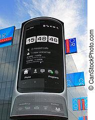 touchscreen, telefon, auf, a, hd, werbewand