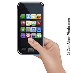 touchscreen, tenendo mano, mobile