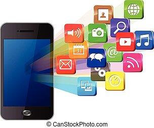 touchscreen, und, sozial, medien