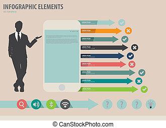touchscreen, vecteur, coloré, projection, illustration, papier, infographics, appareil, homme affaires, template.