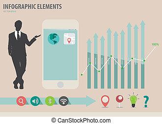 touchscreen, vector, colorido, actuación, ilustración, papel, infographics, dispositivo, hombre de negocios, template.