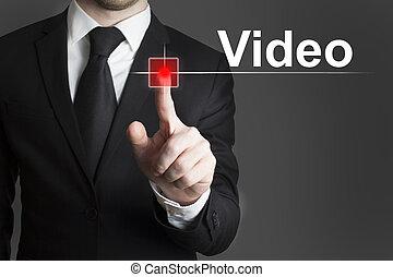 touchscreen video recording light - businessman pressing...