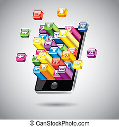 touchscreen, wektor, smartphone, ilustracja