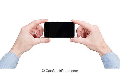 touchscreen, wielka ręka, telefon, dzierżawa, mądry