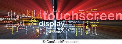 touchscreen, woord, wolk, doosje, verpakken