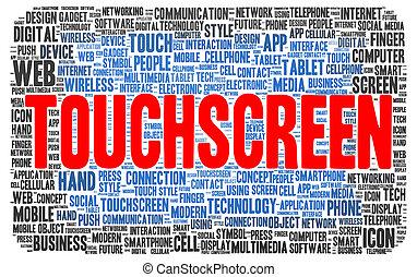 Touchscreen word cloud shape