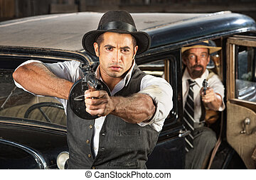 Tough 1920s Era Gangsters with Weapons