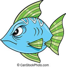 Tough Blue Fish Ocean Vector