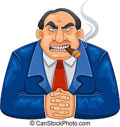 tough boss - tough rich boss smoking cigar and looking...