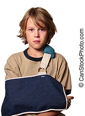 Sad boy with a broken arm is wearing a sling