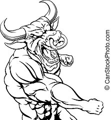 Tough bull character punching