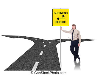 Tough business choices concept with crossroads and...