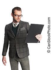 Tough businessman with folder
