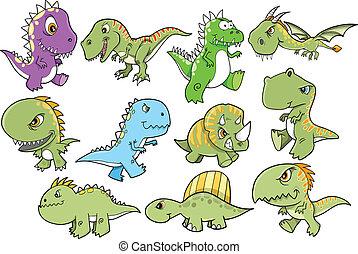 Tough Dinosaur Design elements set