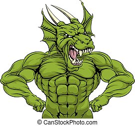 Tough Dragon Mascot - Cartoon tough mean strong green dragon...