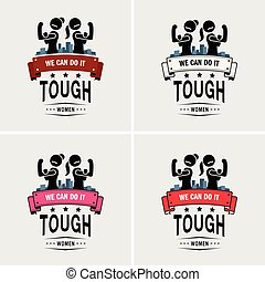 Tough girls or strong women logo design.