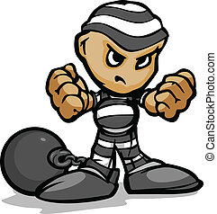 Tough Guy Cartoon Prisoner with Ball and Chain Vector...