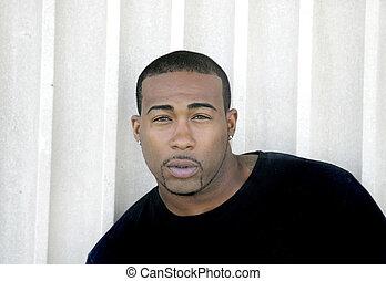 tough guy portrait - closeup headshot portrait of one strong...