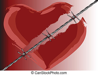 A broken heart divided with barbed wire