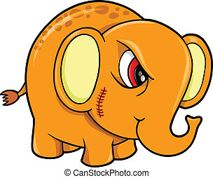 Tough Mean Elephant Animal Vector