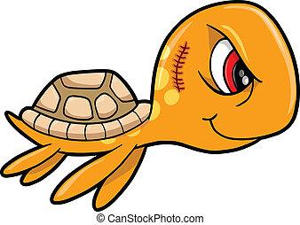 Tough Mean Summer Sea Turtle Animal Vector