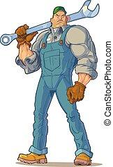 Tough Mechanic with Wrench Vector - Vector Cartoon Clip Art...