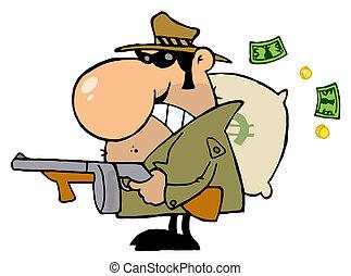 Tough Mobster Holding A Machine Gun And Money Sack