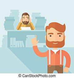 The man with lots of paperwork on the table got scolded by his boss and covering his ears. Hardworking concept. Vector flat design illustration.