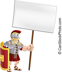 Tough Roman soldier holding sign - Cartoon illustration of a...