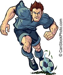 Tough Soccer Player Dribbling - Vector cartoon clip art...