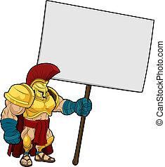 Tough Spartan or Trojan holding sign board - Cartoon...