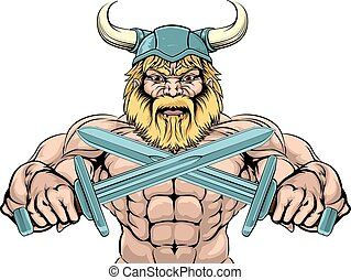 Tough Viking Sword Warrior - Bearded Viking Warrior mascot...