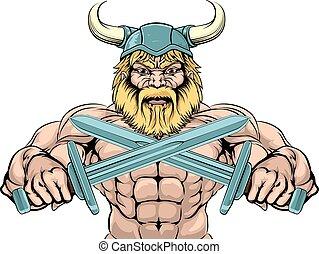 Bearded Viking Warrior mascot with crossed swords