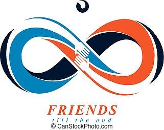 toujours, amitié, symbole, isolé, créatif, vecteur, amis, éternel, white.