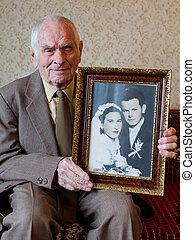 toujours, sien, vieux, concept., année, personne agee, plus, tenue, mariage, amour, 80, beau, photographie., homme