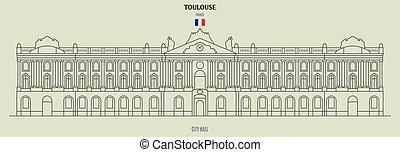 toulouse, france., ランドマーク, 市役所, アイコン