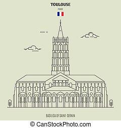 toulouse, france., repère, saint-sernin, basilique, icône