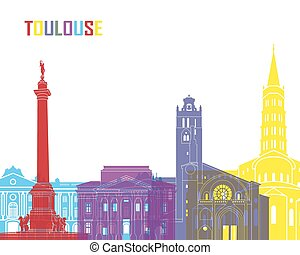 Toulouse skyline pop in editable vector file
