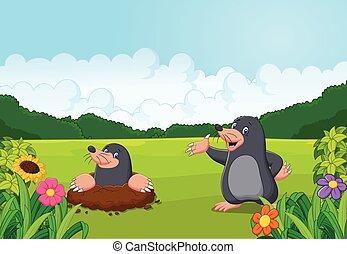 toupeira, feliz, caricatura, floresta