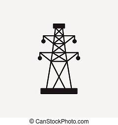 tour, électrique, icône