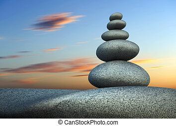tour, équilibre, pierre