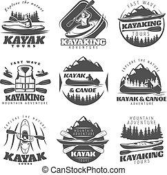 tour, étiquettes, kayaking, ensemble