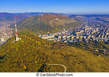 tour, aérien, ville, antenne, vue, vallée