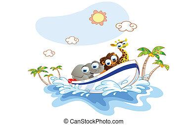 tour bateau, était, dessin animé, animal