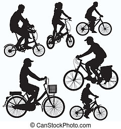 tour bicyclette, silhouettes, vecteur
