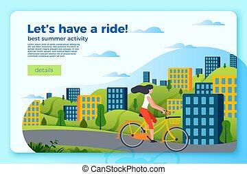 tour bicyclette, vecteur, gabarit, girl, bannière