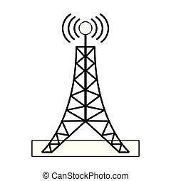 tour, blanc, noir, télécommunication, antenne