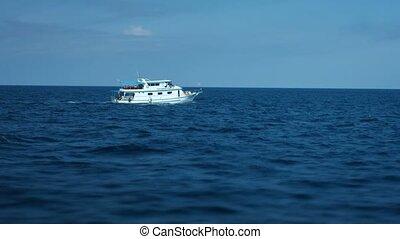 Tour Boat Cruising in the Andaman Sea off Phuket, Thailand -...
